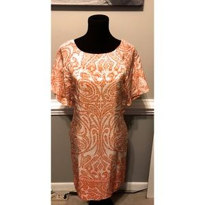 Ellen Tracy Lined Orange Dress with Pockets